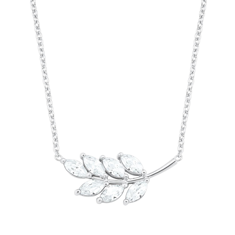 Kette mit Anhänger für Damen, Sterling Silber 925, Zirkonia Blatt