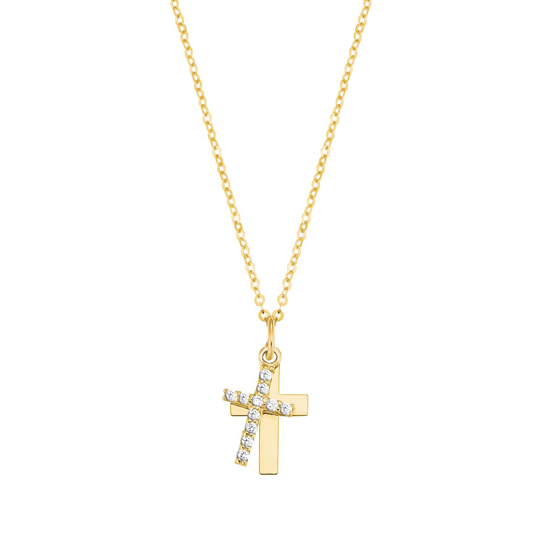 Kette mit Anhänger für Damen, Gold 375, Kreuz mit Zirkonia