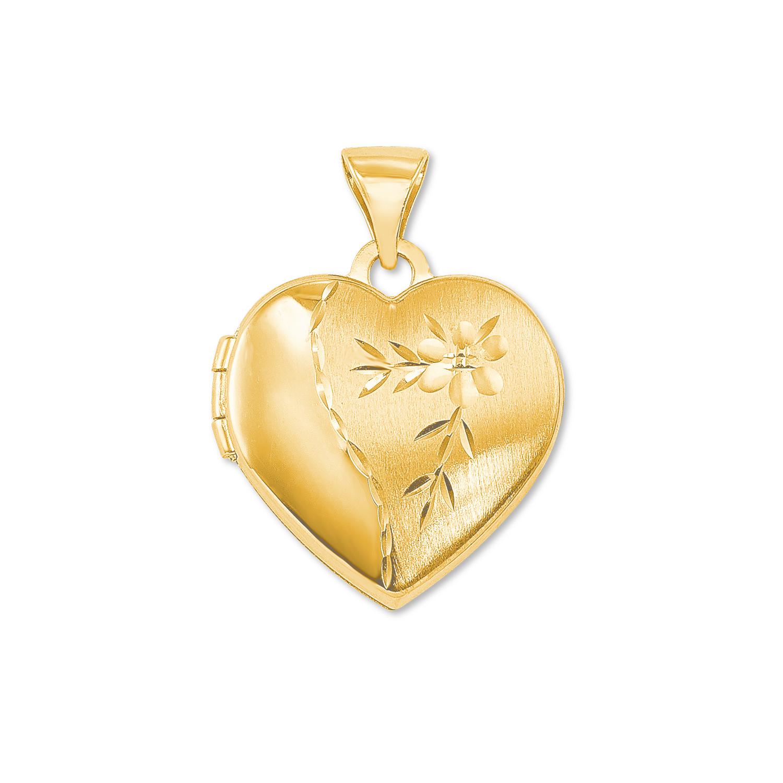 Anhänger amor Damen-Anhänger Medaillon Herz 375 Gold teilmattiert