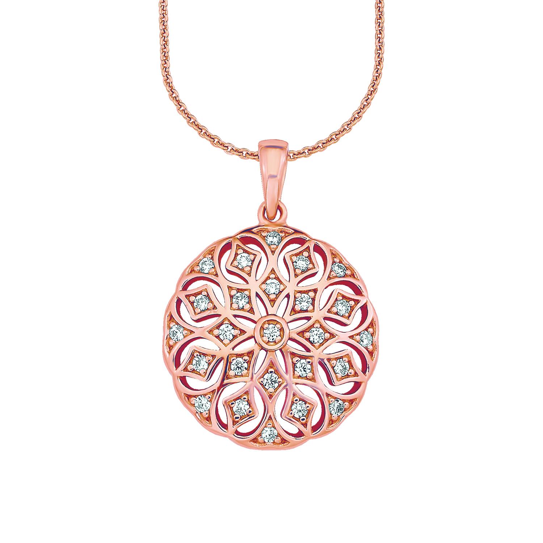 Kette mit Anhänger für Damen 50 cm mit Anhänger Ornament 925 Silber rosévergoldet Zirkonia weiß
