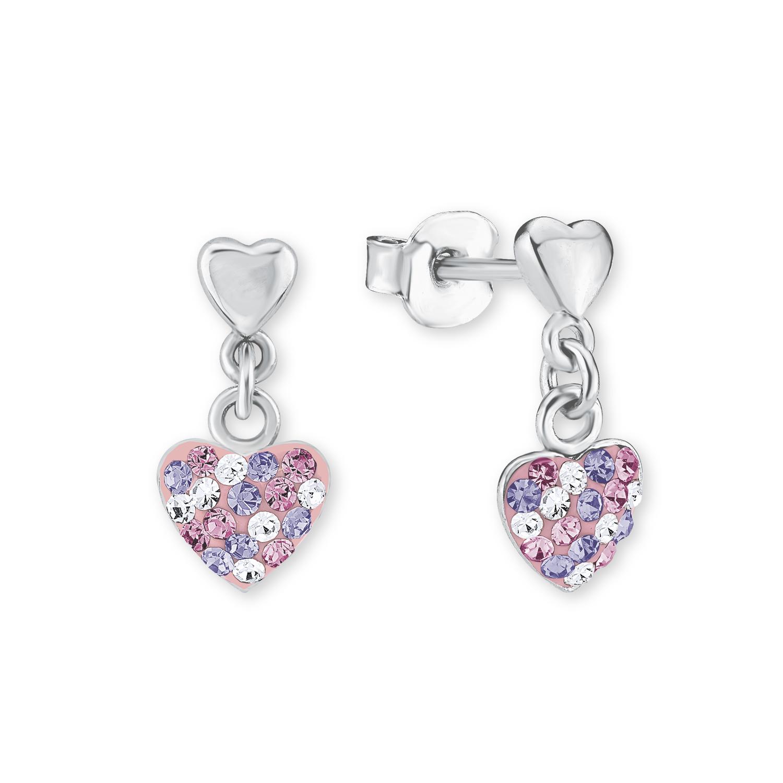 Ohrring für Mädchen, Sterling Silber 925, Preciosa Steine Herz