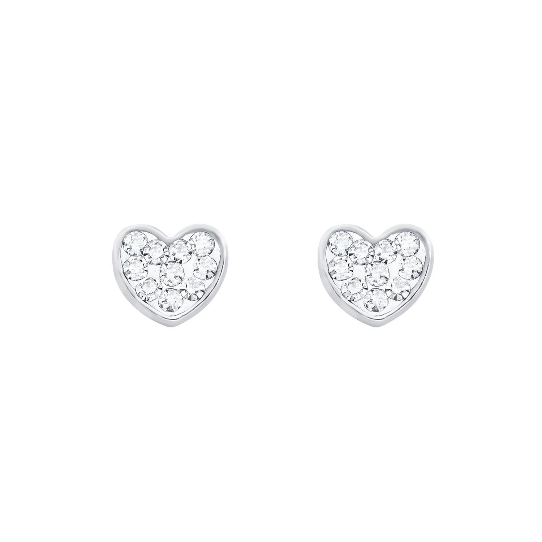 Ohrstecker für Damen, Sterling Silber 925, Kristallglas Herz