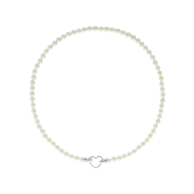 PEARL & HEART Kette mit Anhänger für Damen, Sterling Silber 925, Muschelkernperle Herz