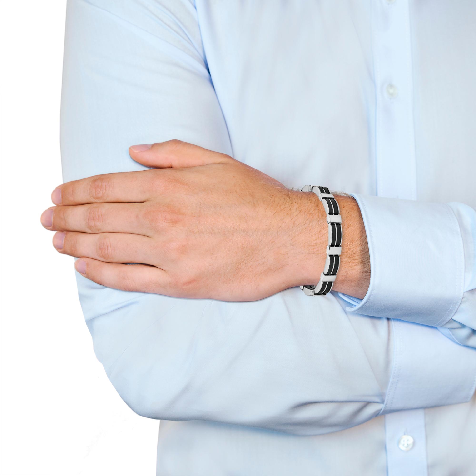 Armband für Herren, Edelstahl mit Kautschuk, 20+2 cm