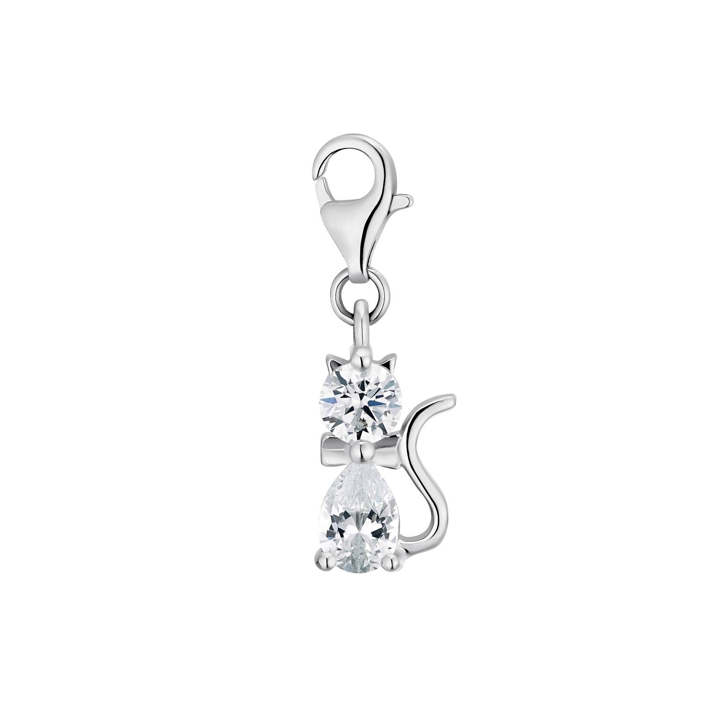 Charm für Damen, 925 Sterling  Silber  Zirkonia | Katze