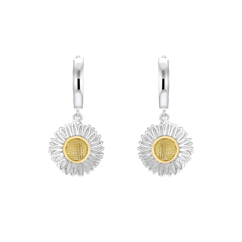Creolen für Damen, Sterling Silber 925 | Gänseblume