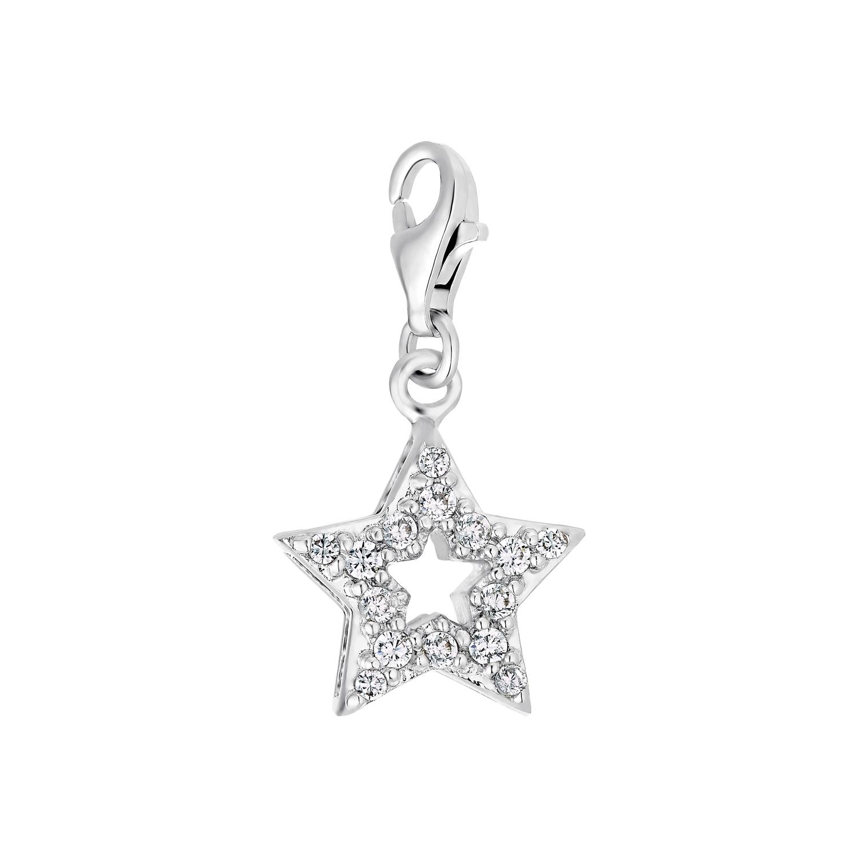 Charm für Damen, 925 Sterling  Silber  Zirkonia | Stern