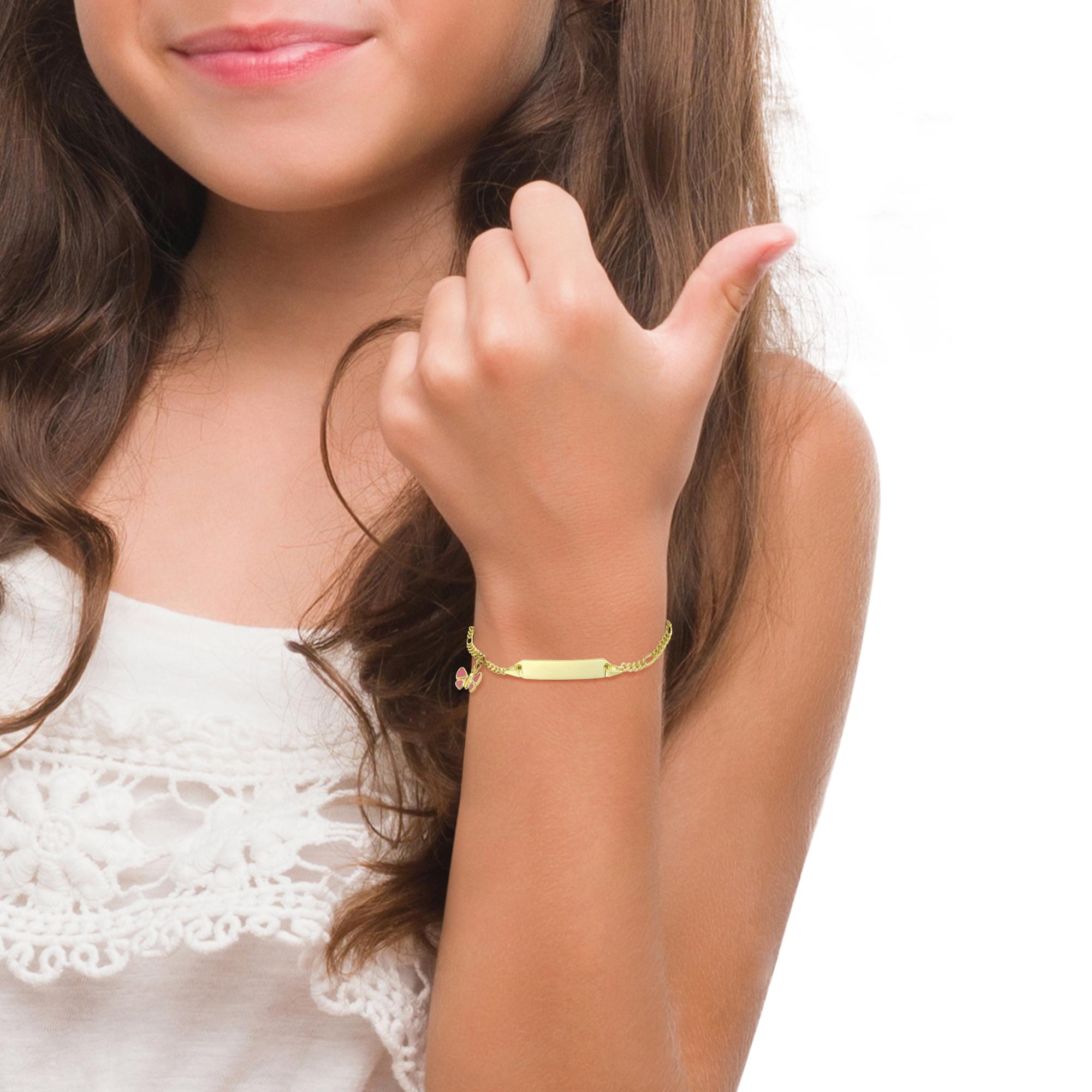 Identarmband für Mädchen, Gold 375, Schmetterling
