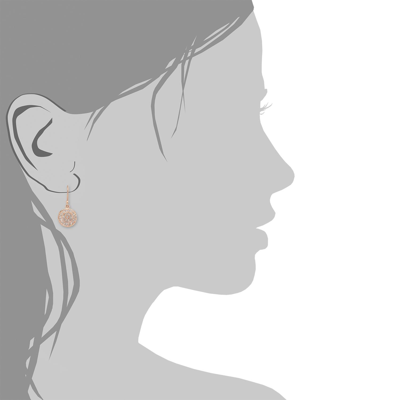 Ohrring für Damen 3 cm orientalisch 925 Silber rosévergoldet Kristalle weiß