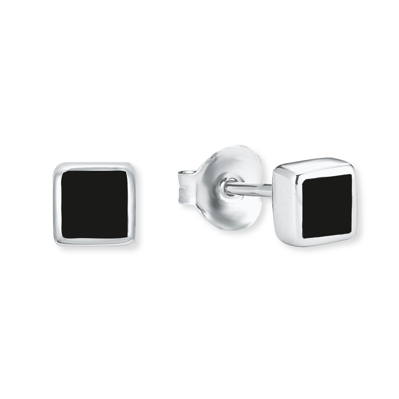 Ohrstecker amor Damen Herren Unisex -Ohrstecker Quadrat 925 Sterling Silber Emaille schwarz