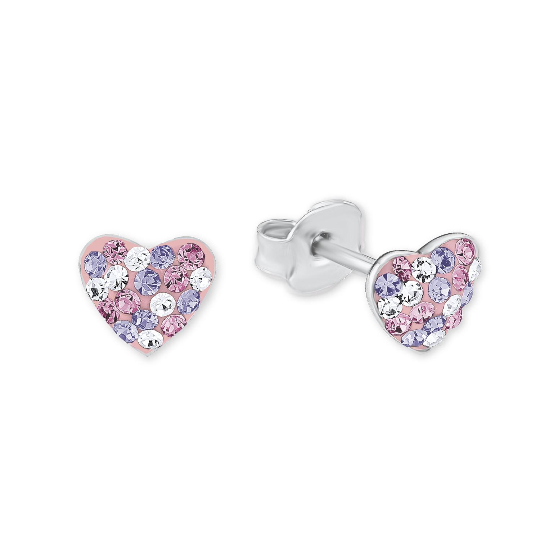 Ohrstecker für Mädchen, Sterling Silber 925, Preciosa Steine Herz
