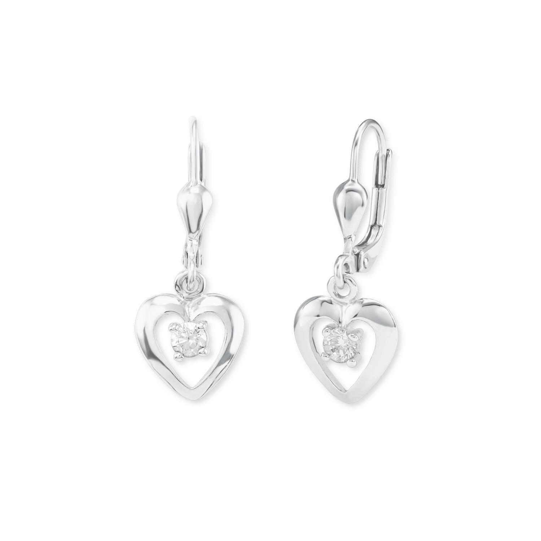Ohrring für Mädchen Herz 925 Sterling Silber Zirkonia weiß