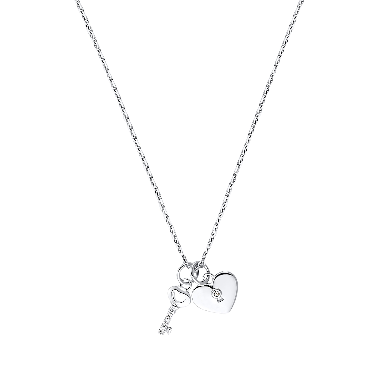 Kette mit Anhänger Sterling Silber 925, Schlüssel | Herz