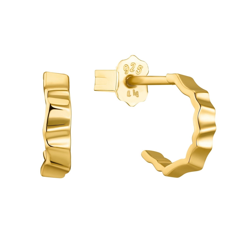 Creolen für Damen, Sterling Silber 925 vergoldet, Zirkonia