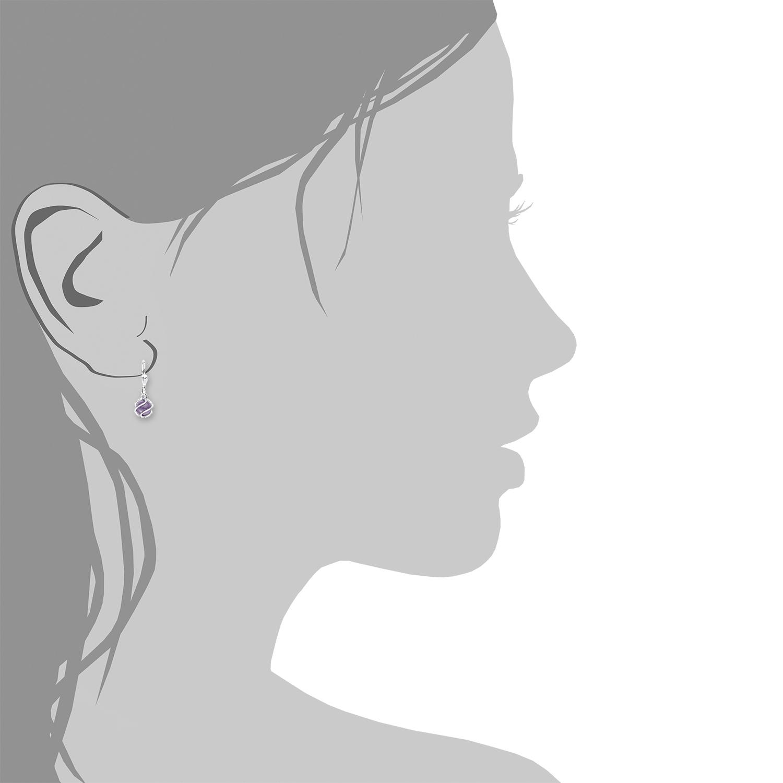 Ohrhänger amor Damen-Ohrhänger 2,3 cm 925 Silber rhodiniert Zirkonia lila