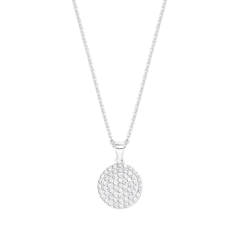 Kette mit Anhänger für Damen, Sterling Silber 925, Zirkonia Plakette