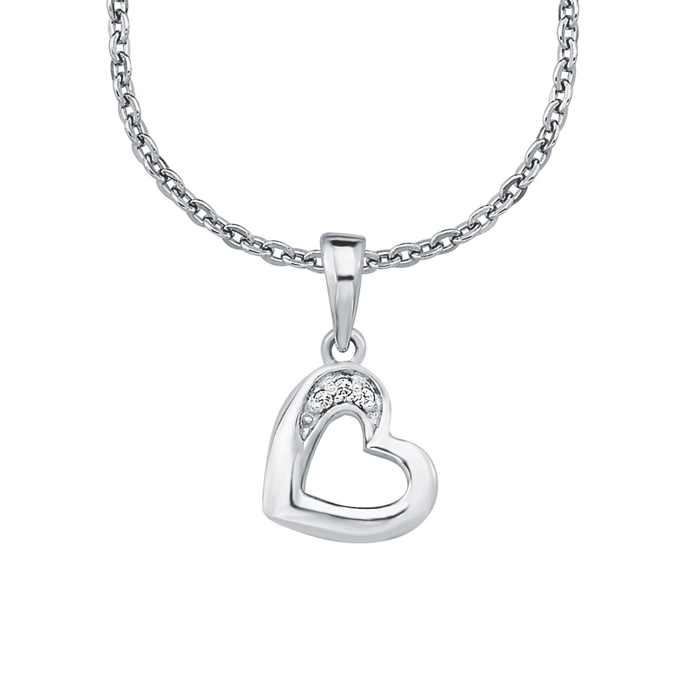 Kette mit Anhänger für Mädchen 35+3 cm längenverstellbar  mit Anhänger Herz 925 Sterling Silber Zirkonia weiß