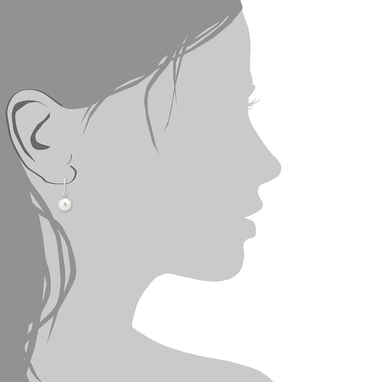 Ohrring für Damen, Sterling Silber 925, Zirkonia Wachsperle