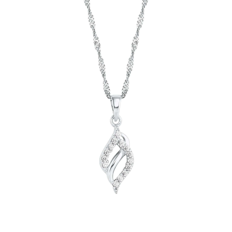 Kette mit Anhänger für Damen, Sterling Silber 925, Zirkonia Fantasie