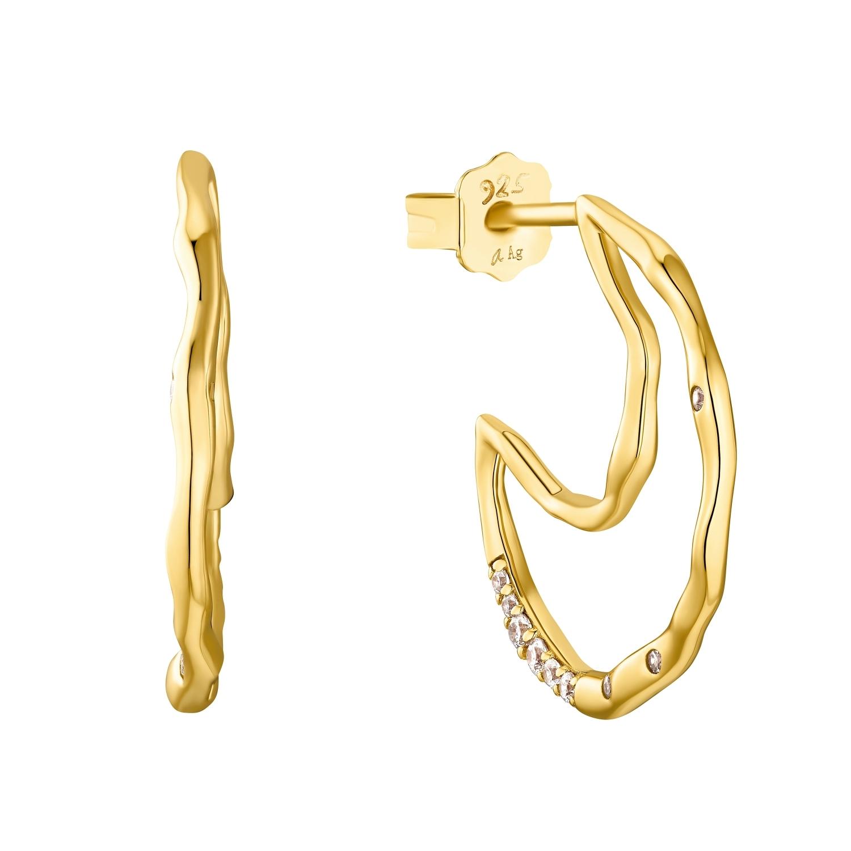 Creolen für Damen, Sterling Silber 925 vergoldet, Zirkonia | Mond