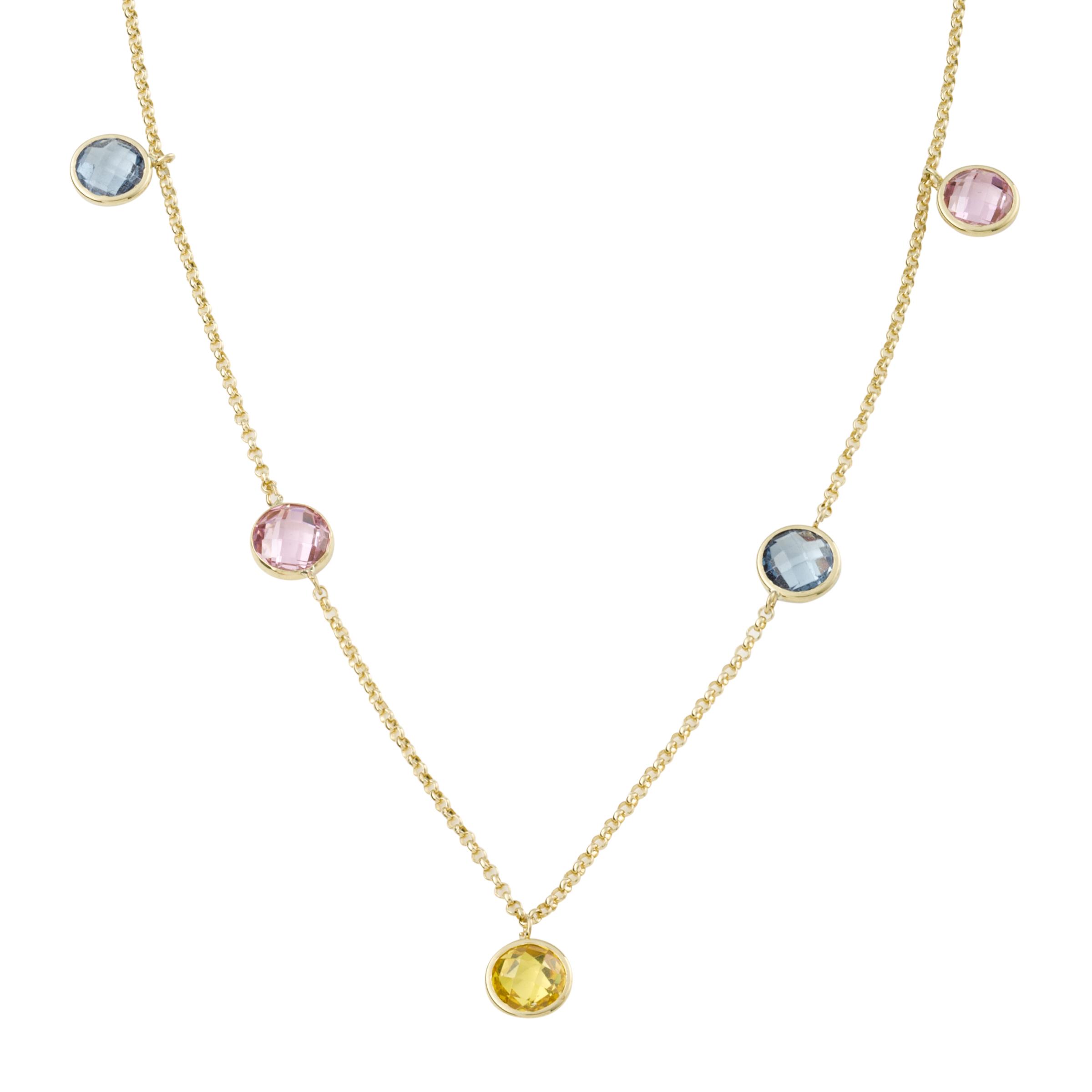 Collier für Damen, Gold 375, Zirkonia Multicolor