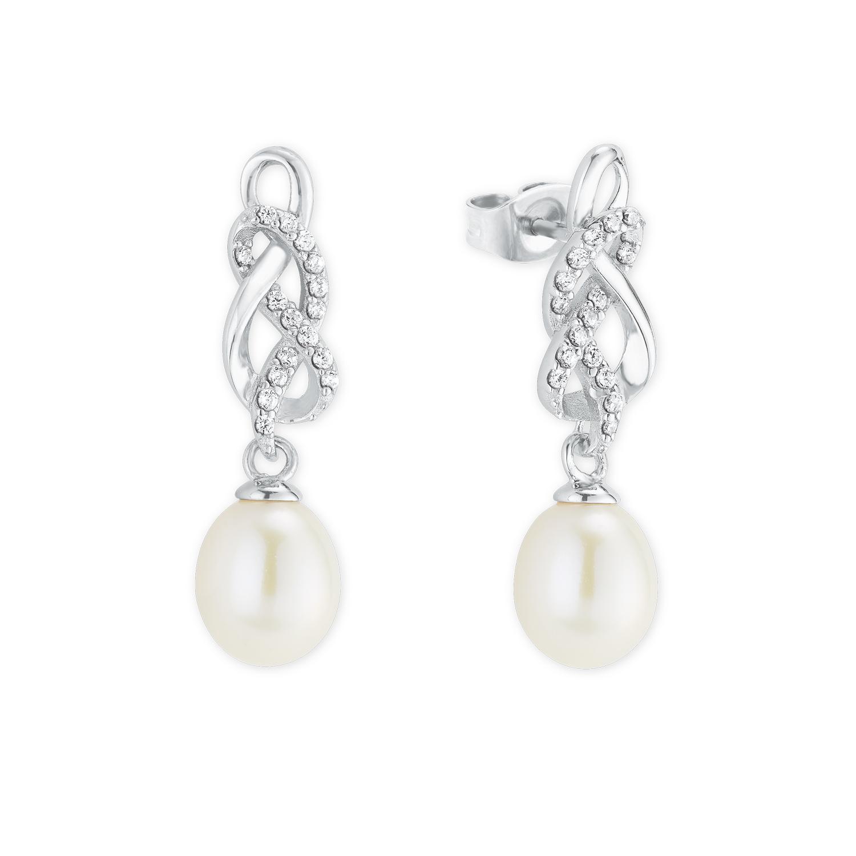 Ohrhänger für Damen, Sterling Silber 925, Zirkonia Süßwasserzuchtperle