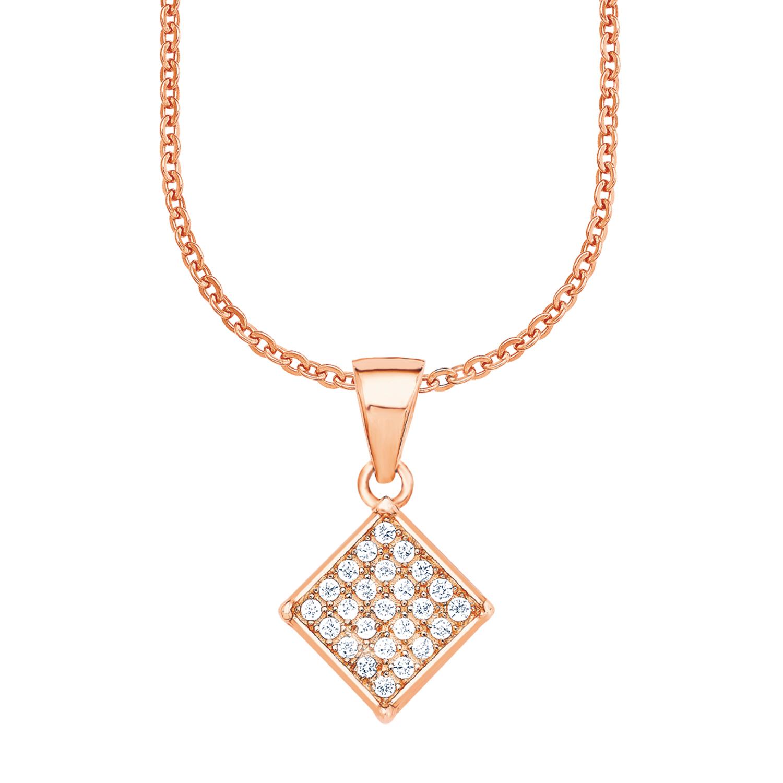 Kette mit Anhänger amor Damen-Kette 42 cm mit Anhänger Quadrat 925 Silber rosévergoldet Zirkonia weiß