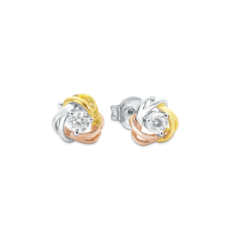 Ohrstecker für Damen, Sterling Silber 925, Zirkonia Knoten