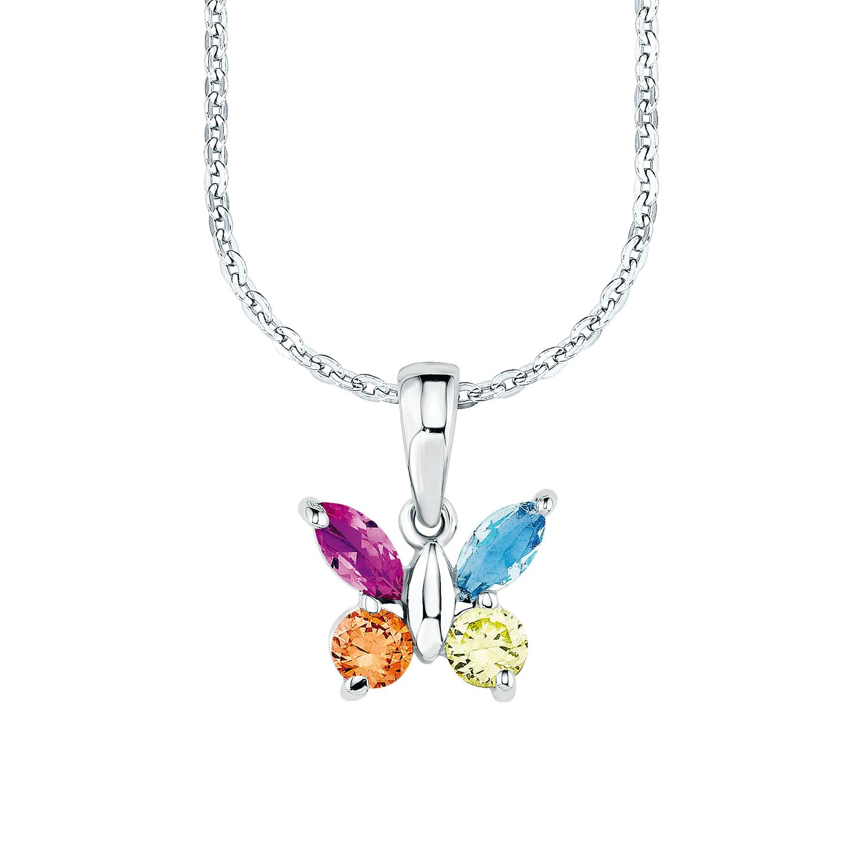 Kette mit Anhänger für Mädchen, Sterling Silber 925, Zirkonia Schmetterling